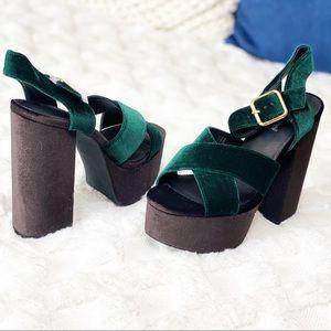 JEFFREY CAMPBELL velvet platform sandals.